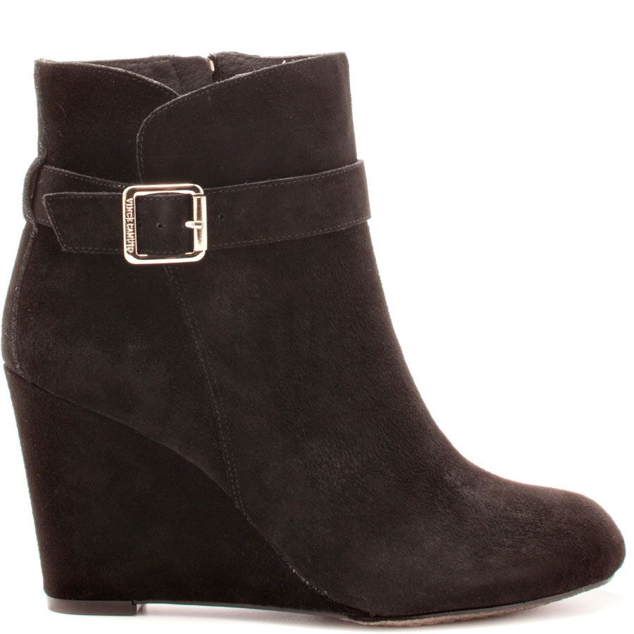 You'll be sweet on the Dena by Vince Camuto.  Every gal needs a wedged ankle boot as her pal.  Pick up this pretty black suede covered style showcasing a 3 1/2 inch heel and cute buckle adornment.
