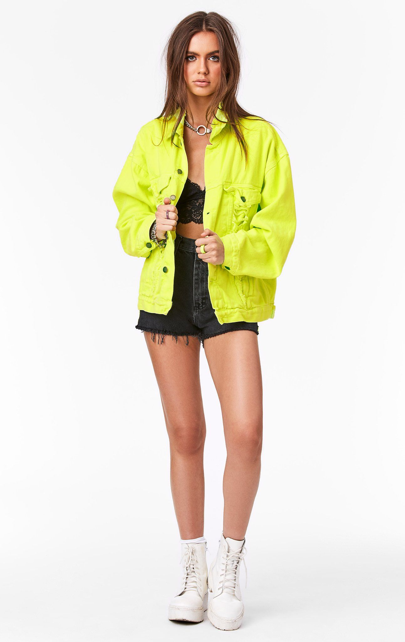 Audrey Oversized Denim Jacket In Overdye Neon Lime Please Note Neon Color May Transfer Style Car Jean Jacket Outfits Oversized Denim Jacket Jacket Outfits [ 2048 x 1293 Pixel ]