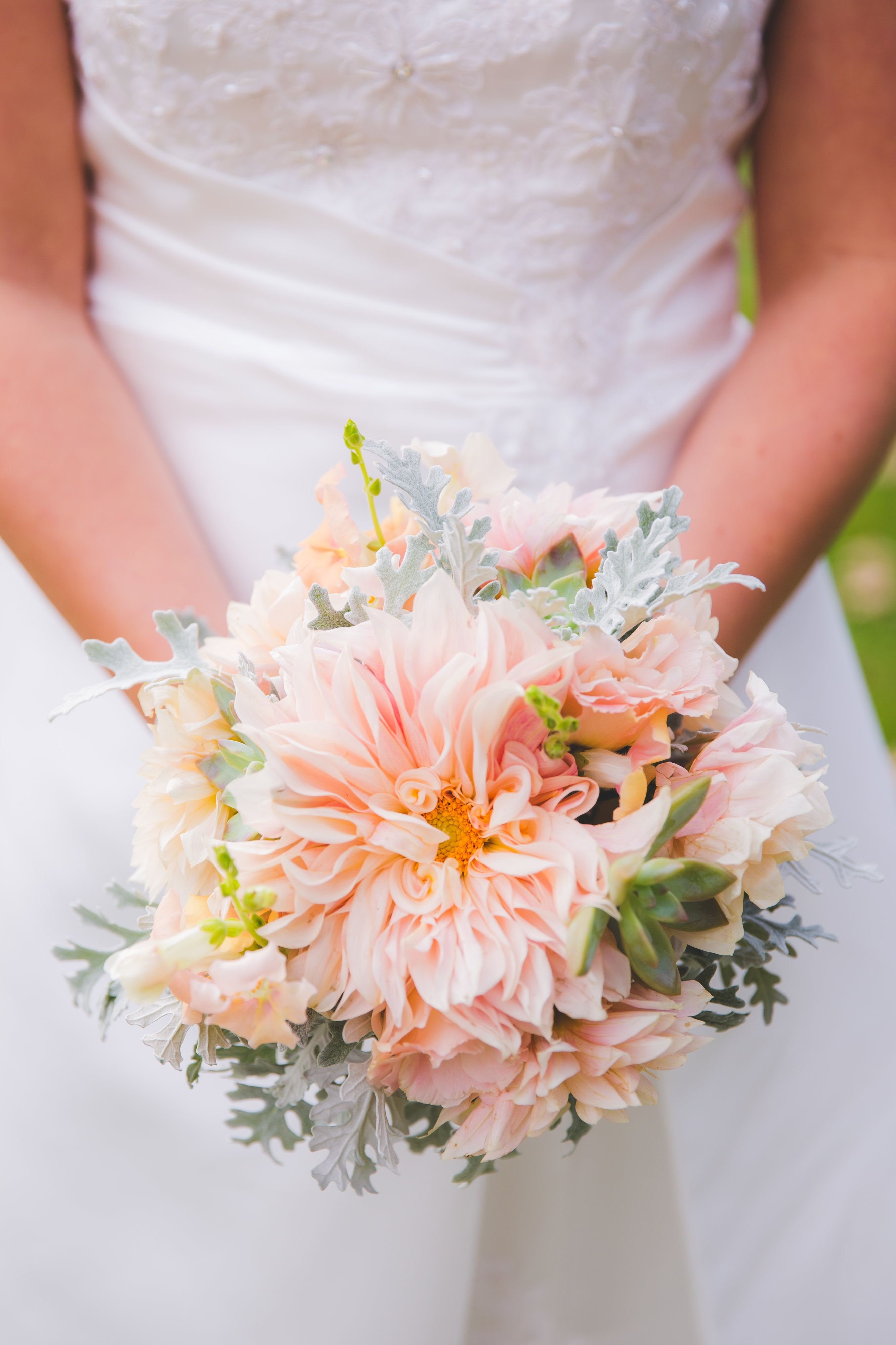 October dahlias with succulents Dahlia bouquet, Wedding