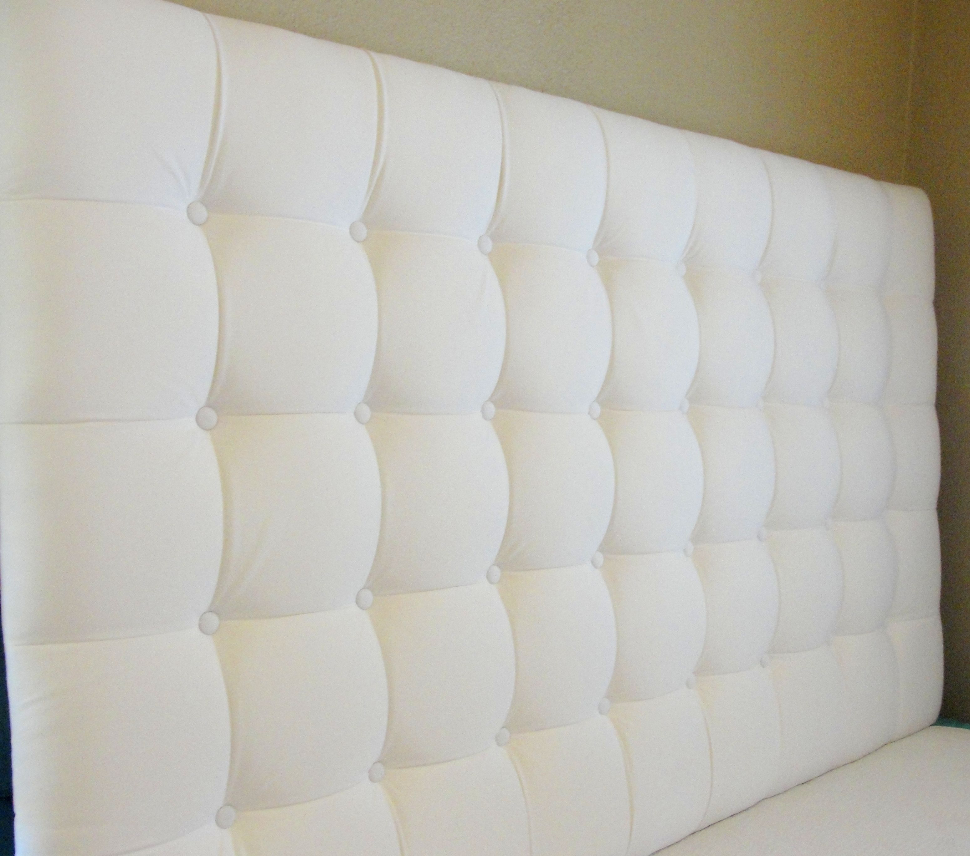 I Like That The Squares Are Here White Square Tufted Headboard