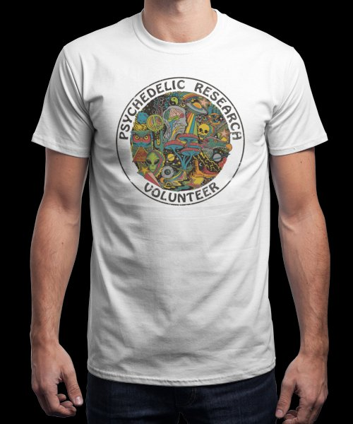 """""""Psychedelic Research Volunteer"""" is today's £9/€11/$12 tee for 24 hours only on Pin this…   Qwertee thumbnail"""