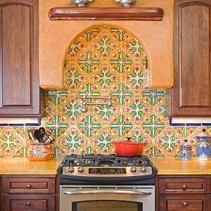 Spanish Kitchen Backsplash With San Jose Quarter Tile