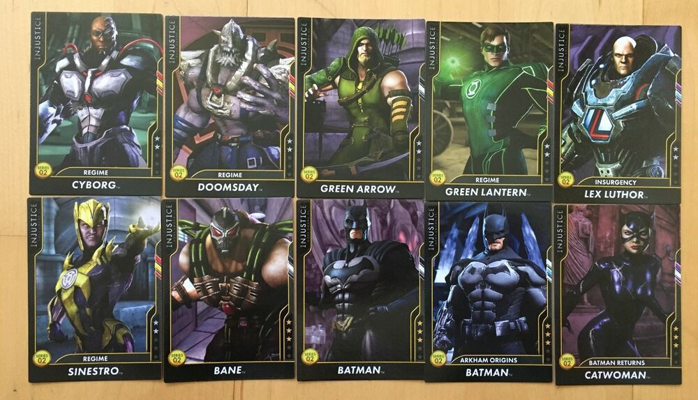 Lot Of 10 Injustice Gods Among Us Arcade Regular Cards Series 2 Injustice Cards God