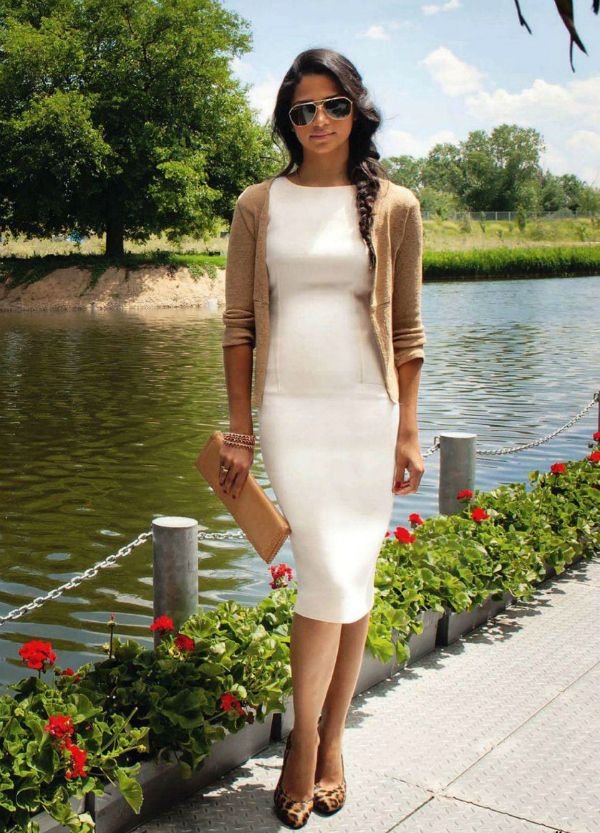 aa7ac5d9d5c white pencil dress + camel cardigan on  camilaalves