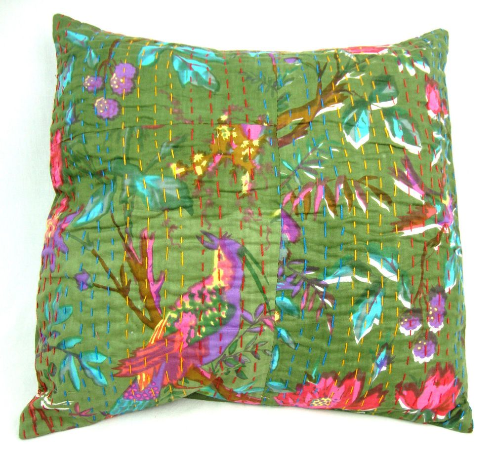 Hippie Home Decorative Sequin Kantha Sofa \u0026 Couch Cushion Cover Designer Pillows #Handmade #Traditional