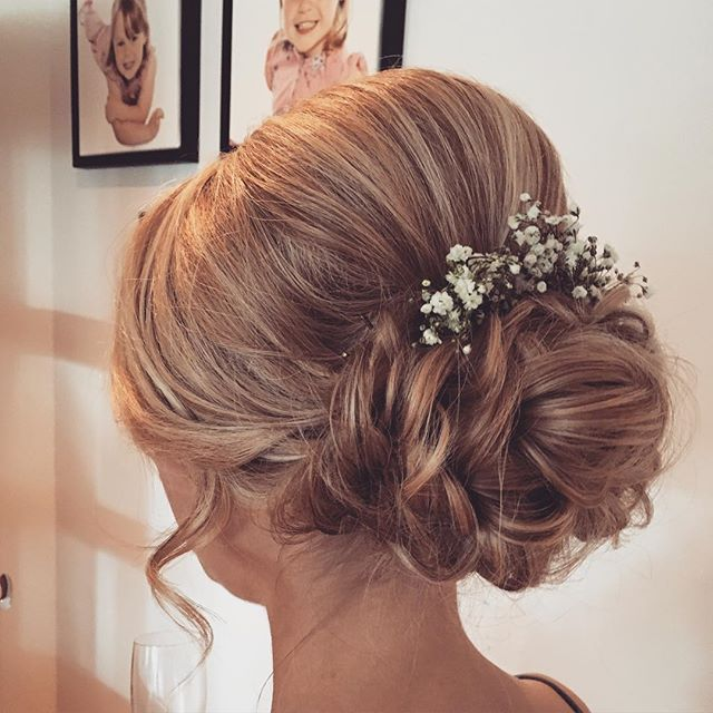 "City Brides on Instagram: ""Beautiful bridesmaid hair today at our fabulous Highlands Wedding!!! #bridal #hair #hairup #gypsophila #chignon #volume #blonde…"""
