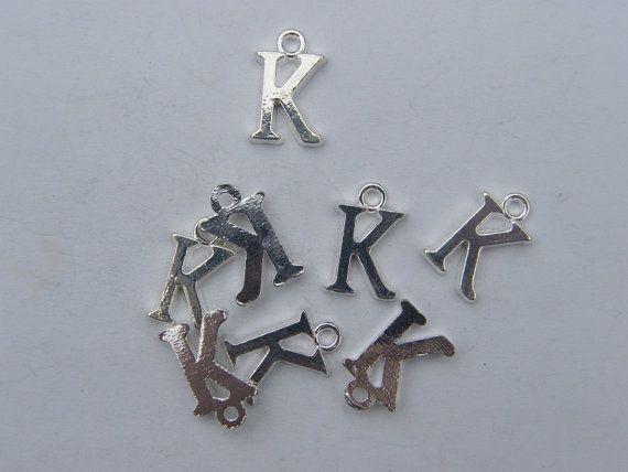 BULK 30 Letter K alphabet charms silver plated
