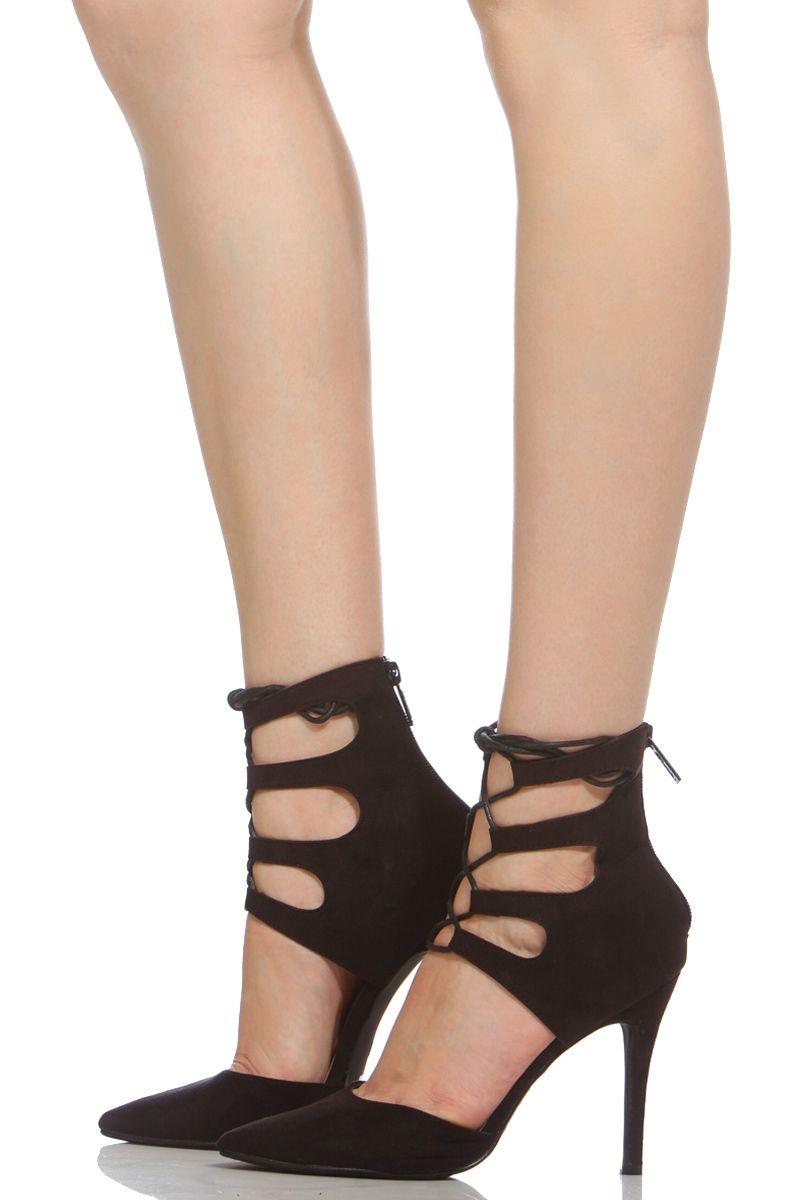 42bd22fecc2 Black Faux Suede Lace Up Pointy Heels   Cicihot Heel Shoes online store  sales Stiletto