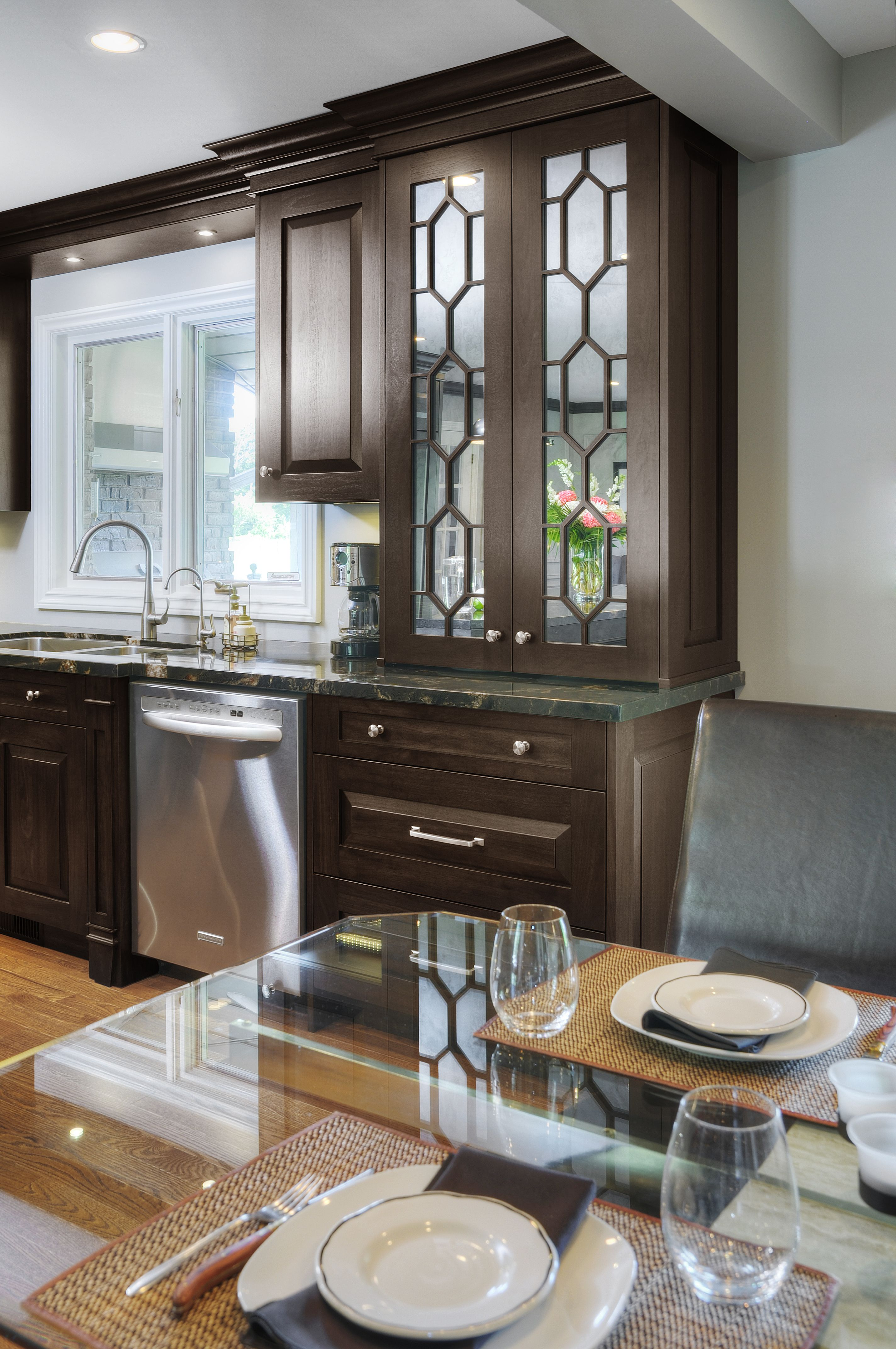 kitchen stained georgia style custom walnut cabinetry in ebony with mullioned glass front on kitchen cabinets with glass doors on top id=27155