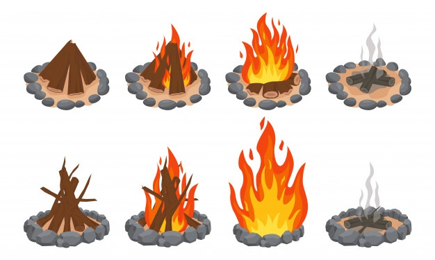 Wood Campfire Outdoor Bonfire Fire Burning Wooden Logs And Camping Stone Fireplace Firewood Flames Burn Campfire Or Bonfire Flame Fireplace Forest Cartoon Night Landscape God Illustrations