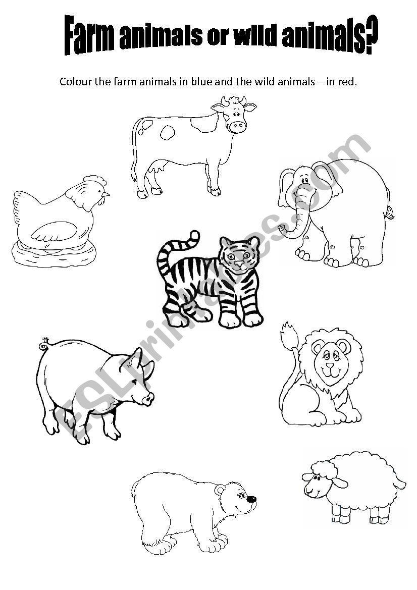 Farm Animals Or Wild Animals For Preschool Esl Worksheet By Pavlina At In 2020 Animal Worksheets Kindergarten Colors Kindergarten Worksheets