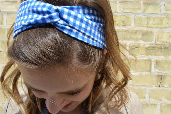 LOVE  this Blue Gingham Cotton Jersey Blend Headband stitched by WovenPromise #etsy #handmade