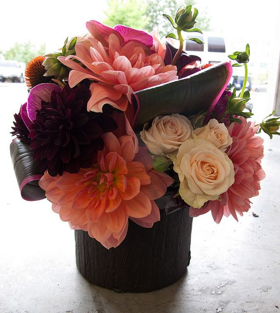 Roses, Dahlias, Phalaenopsis Orchids, Ti Leaves, Calla Lilies, Echinacea Pods