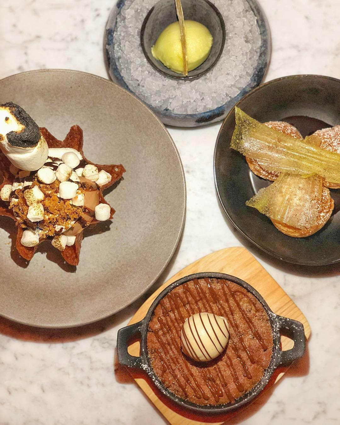 Fluffy S Mores Cookie Skillet Sorbets Profiteroles Some Of The Many Desserts Recommended At Haus Bh The New In 2020 Instagram Food Cravings Decorative Plates