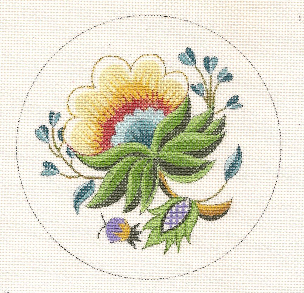 Creative needle flower ornament handpainted hp needlepoint canvas