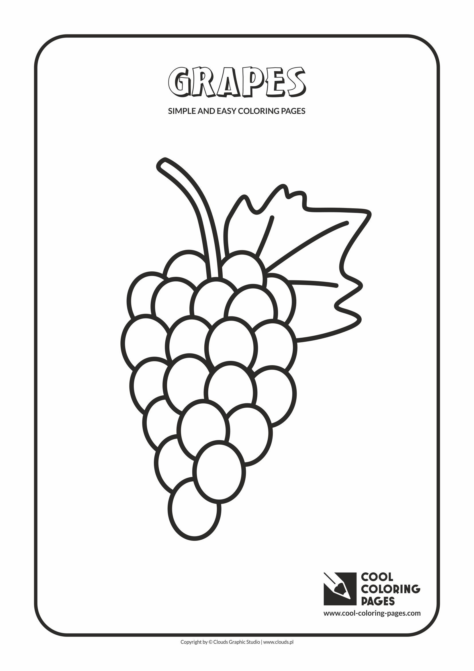 Simple and easy coloring pages for toddlers - Grapes | Preschool ...