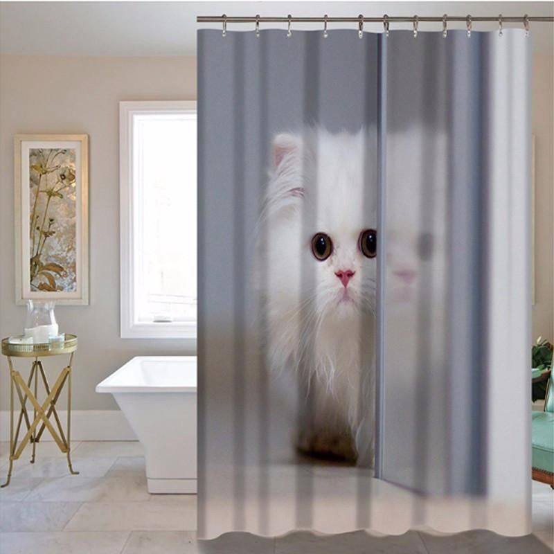 Bathroom Hotel Pet White Cat Print Shower Curtain Customized Does