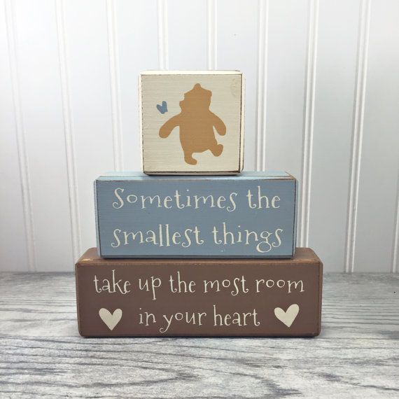 Classic Winnie the Pooh baby nursery decor pooh quote pooh bear painted distressed wood sign playroom centerpiece custom baby shower