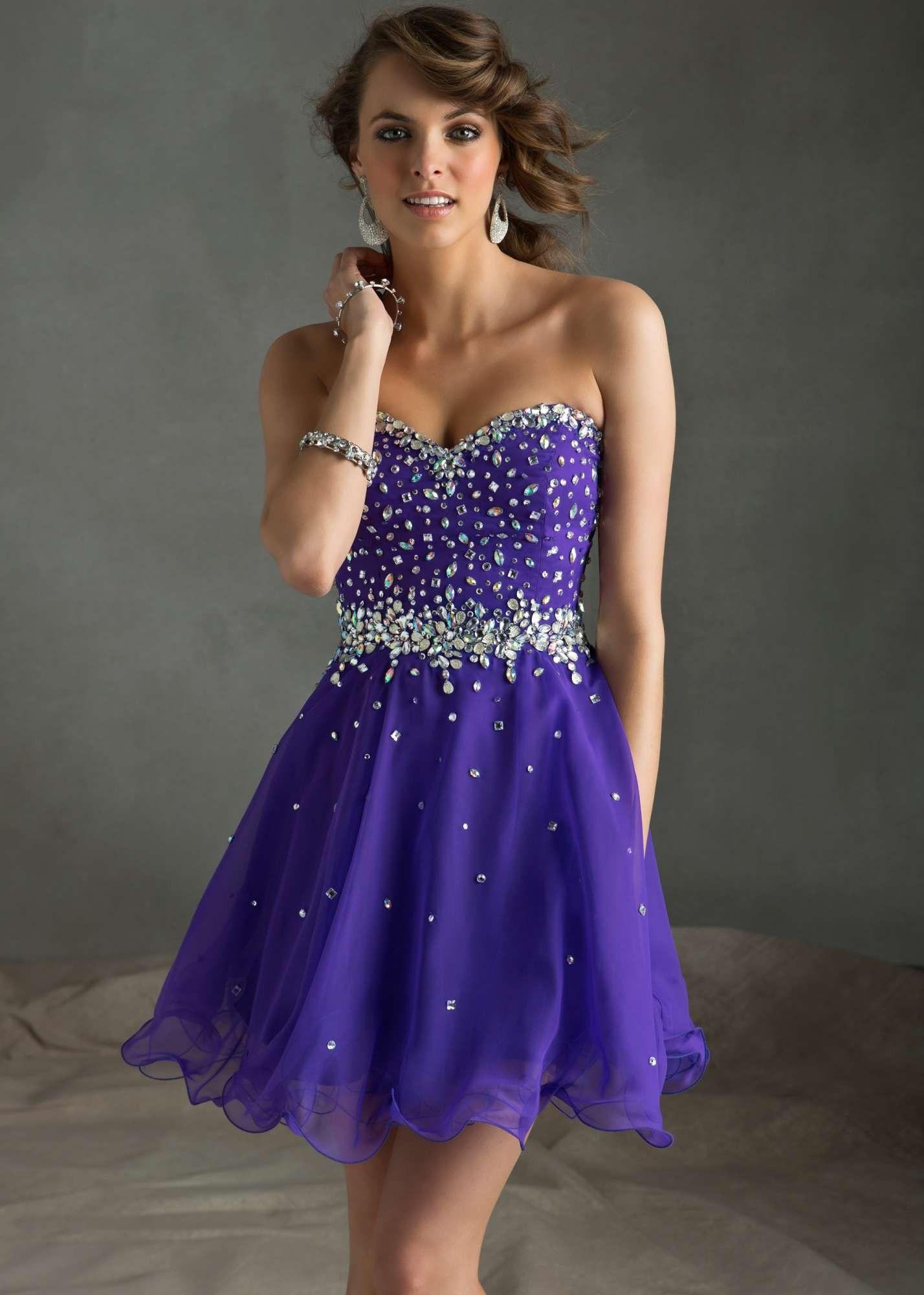 Sticks & Stones by Mori Lee 9240 Flirty Purple Chiffon Dress ...