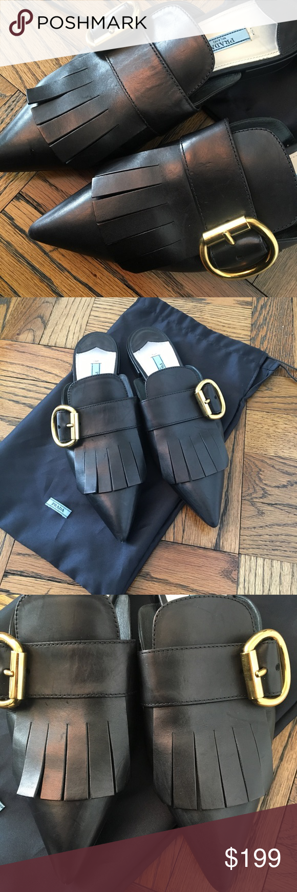 Prada Black Mules(Slides) w/ Gold Buckle Size 37.5 Prada black mule slides with gold buckle. Hottest trend right now in footwear! Preowned Please see picture for wear!! In good condition!!! Black leather size 37.5. (Good if you wear 7-7.5). Comes with original shoe bag! Send in your offers! Prada Shoes Mules & Clogs