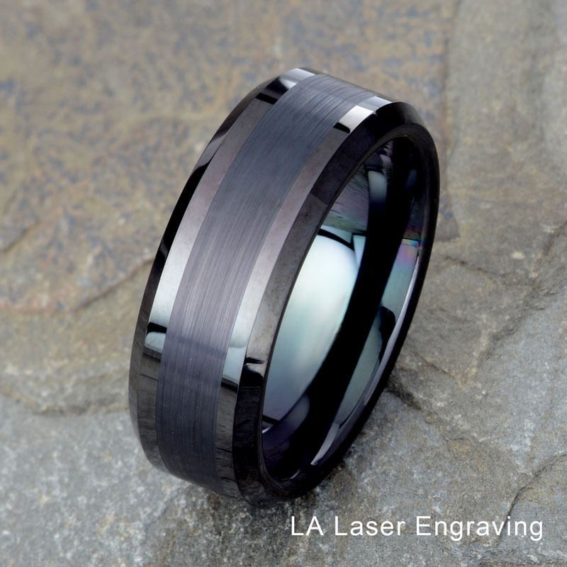 8mm Titanium Brushed Black Ceramic Center /& Polished Beveled Edge Wedding Band Ring For Men Or Ladies