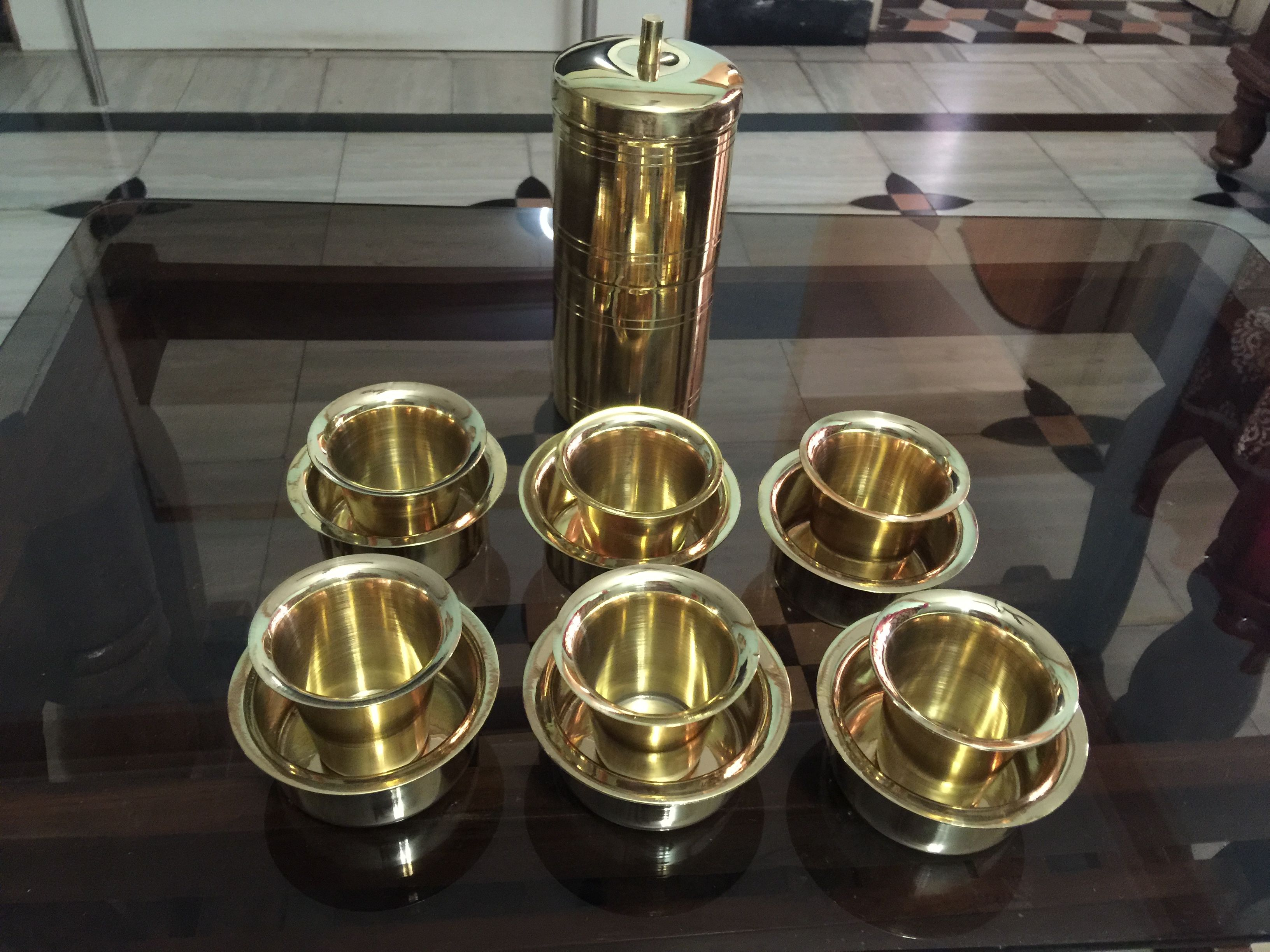 Brass Coffee Filter With Cup And Glass Typically South Indian