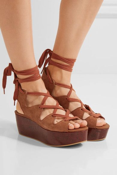 f2f109f48af Platform sole measures approximately 40mm  1.5 inches Light-brown suede Ties  at ankle Chloe