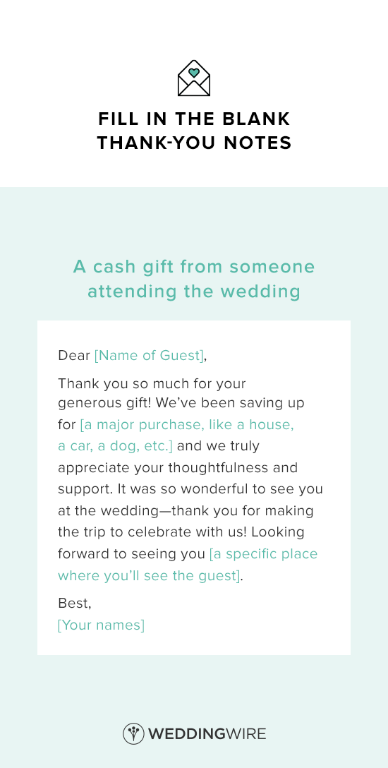 Thank You Note for Gift Card Wedding