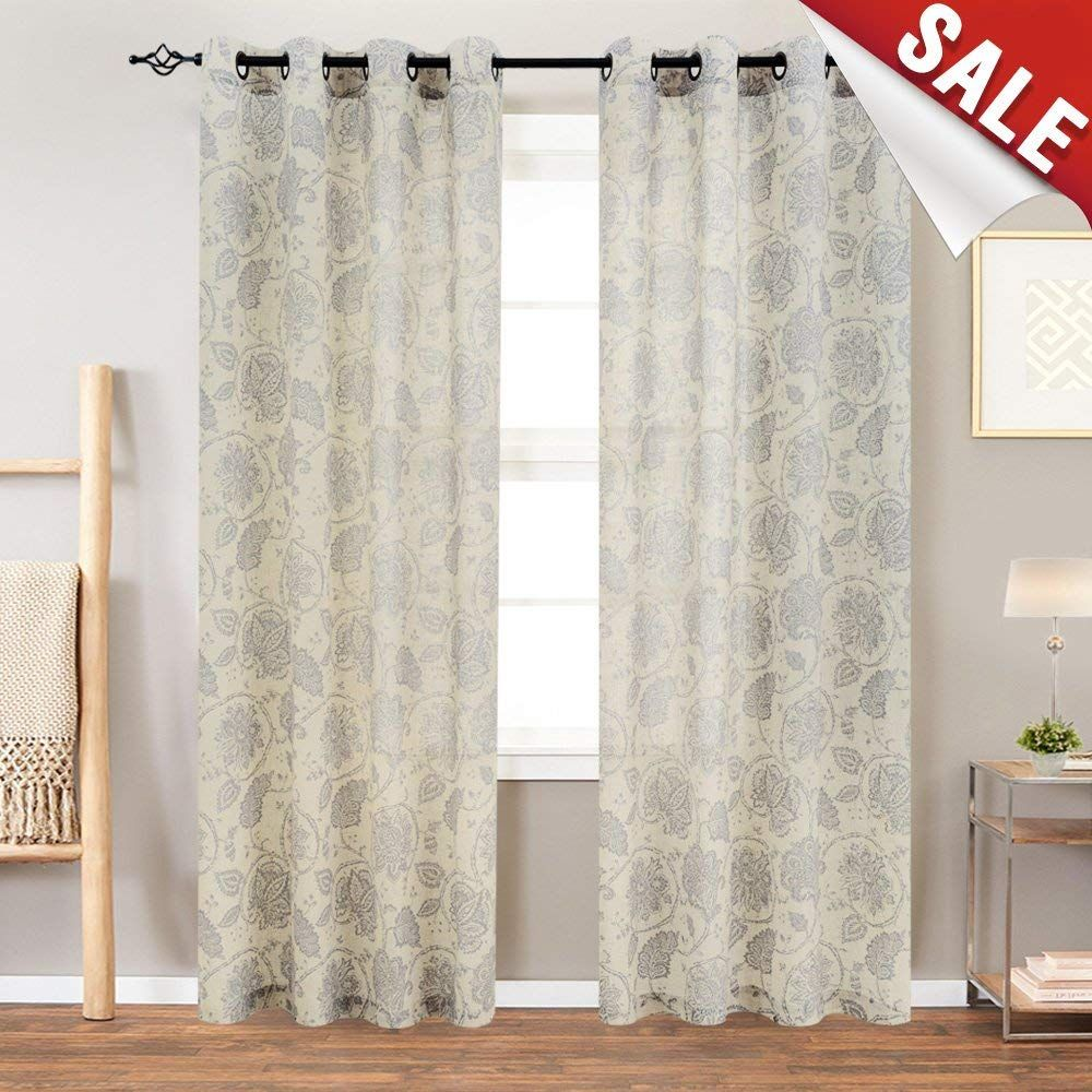 Amazon Com Floral Scroll Printed Linen Curtains Grommet Top