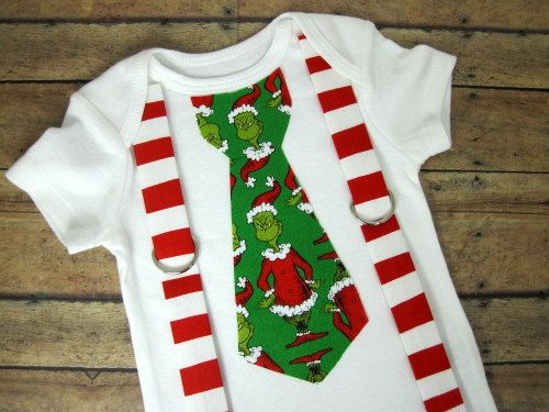 Grinch Stole Christmas Tie With Red Squiggly Stripes Suspenders
