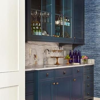 Blue Wet Bar Cabinets With Brass Hardware Basement Bar Designs Wet Bar Cabinets Basement Bar
