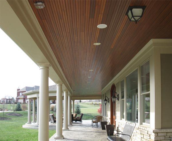Beautiful Wood Ceiling Porch Ceiling  Stain To Match Doors