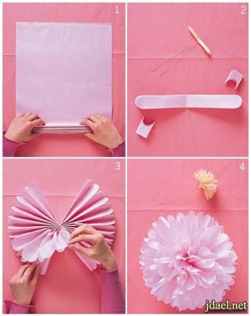 افكار تزيين حفلات تخرج ورق كروشيه وشفاف ملون بالصور Tissue Paper Flowers Crafts Paper Flowers