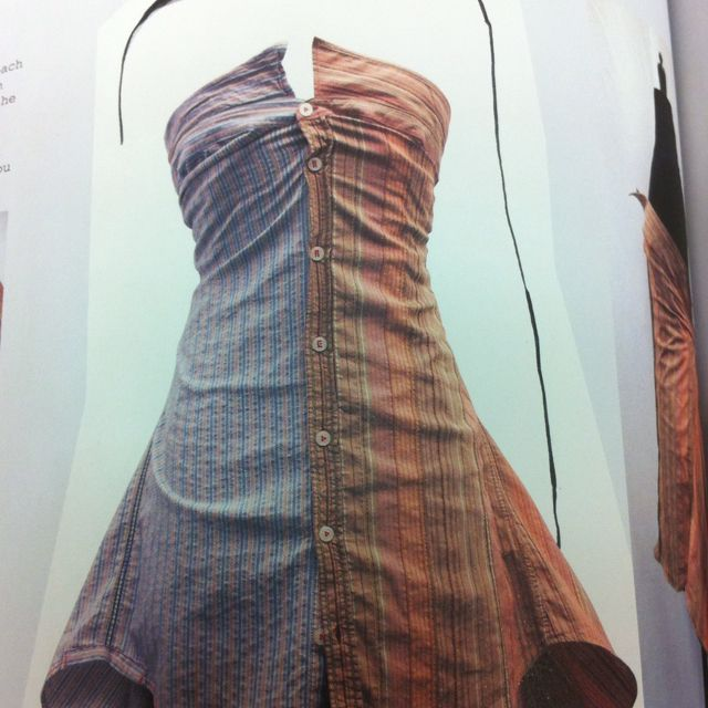 Dress from two men's collared shirts (tie the arms in the back as a bow, or if you feel extra crafty, you can cut the sleeves and sew in the back)
