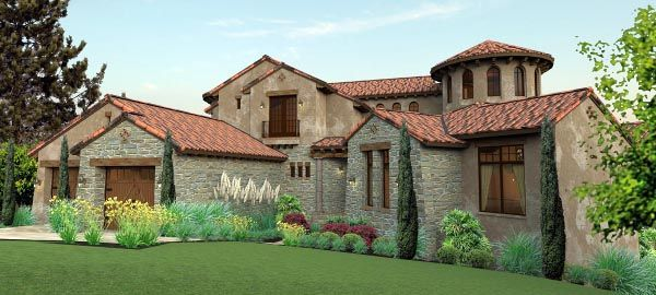 Tuscan Style House Plan with 4 Bed 5 Bath 2 Car Garage