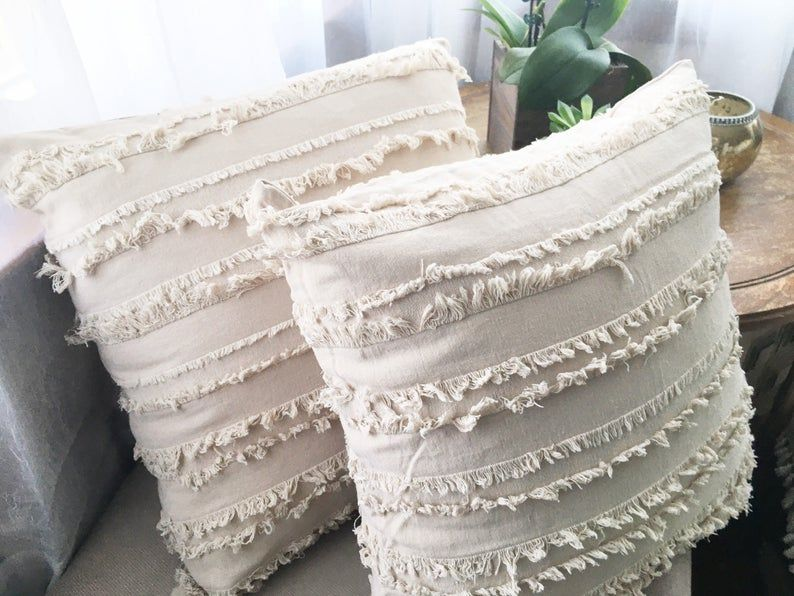 Texture, trim design cotton Pillow Cover, Boho pillow, beige, orange or mustard Pillow Cover, Pillow Case, 18x18 20x20 22x22 24x24