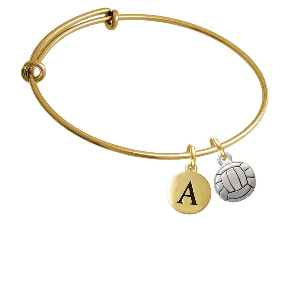 Volleyball Or Water Polo Ball Gold Tone Initial Charm Expandable Bangle Bracelet Br C2893 Pebbleinitial F2084 Gp Bangle Bracelets With Charms Expandable Bangle Bracelet Initial Charm
