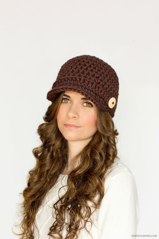 Brown Crochet Newsboy Hat Pattern   Crochet newsboy hat, Crochet and ...