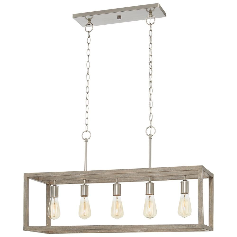 Home Decorators Collection Boswell Quarter 5 Light Brushed Nickel Island Chandelier With Weathered Wood Accents 7965hdcdi The Home Depot Dining Room Light Fixtures Rectangular Chandelier Wood Chandelier