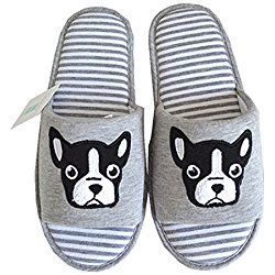 Dog Slippers For Women Slippers Womens Slippers Grey Dog