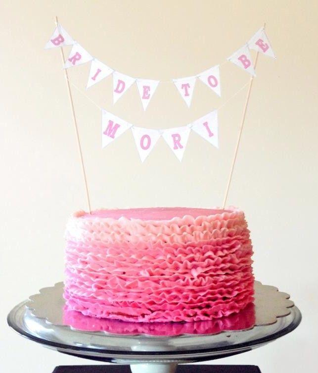 Pink ruffles bridal shower cake.