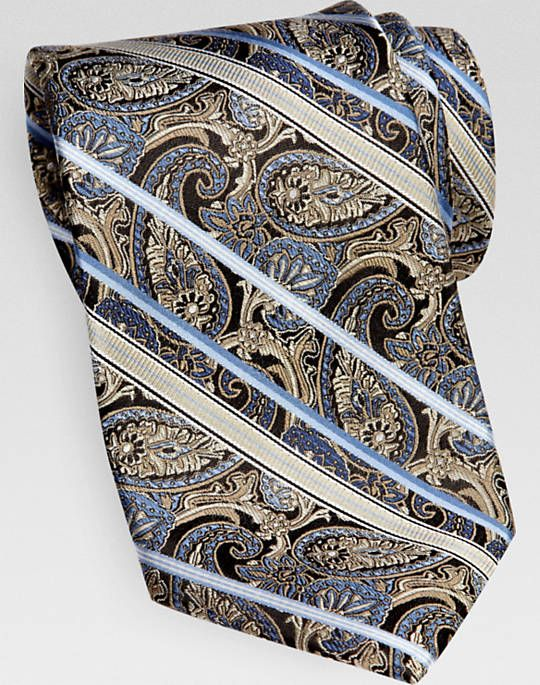 d917d08af6bc Pronto Uomo Couture Taupe Paisley and Stripe Narrow Tie | ideas for ...