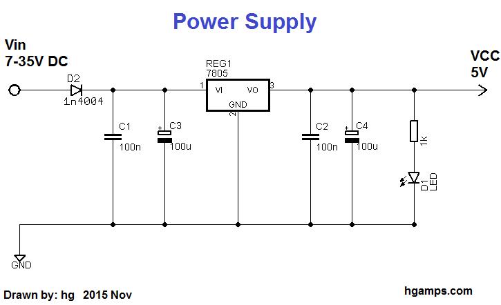 7805 based voltage regulator circuit delay effect power supply musik scheman guitar pedals. Black Bedroom Furniture Sets. Home Design Ideas