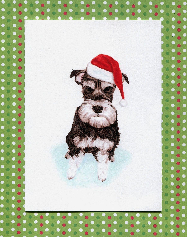 Santa Schnauzer, Christmas Dog Greeting Card, 5x7 Art Print. $4.99 ...