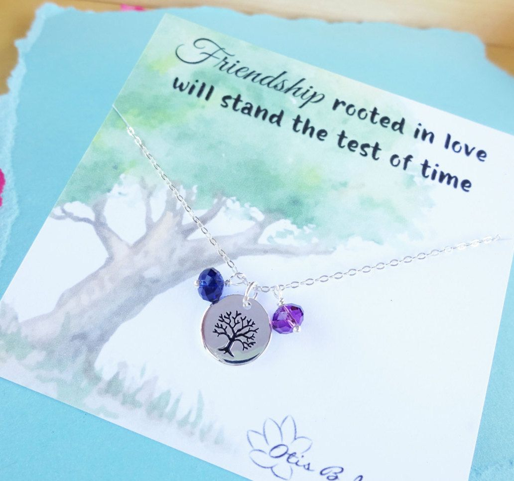 Sterling silver necklace and message friendship day greeting card sterling silver necklace and message friendship day greeting card tree of life friendship card kristyandbryce Gallery