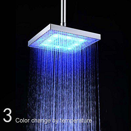Getek Square 8 Inch Led Shower Head Temperature Sensor 3 Colors