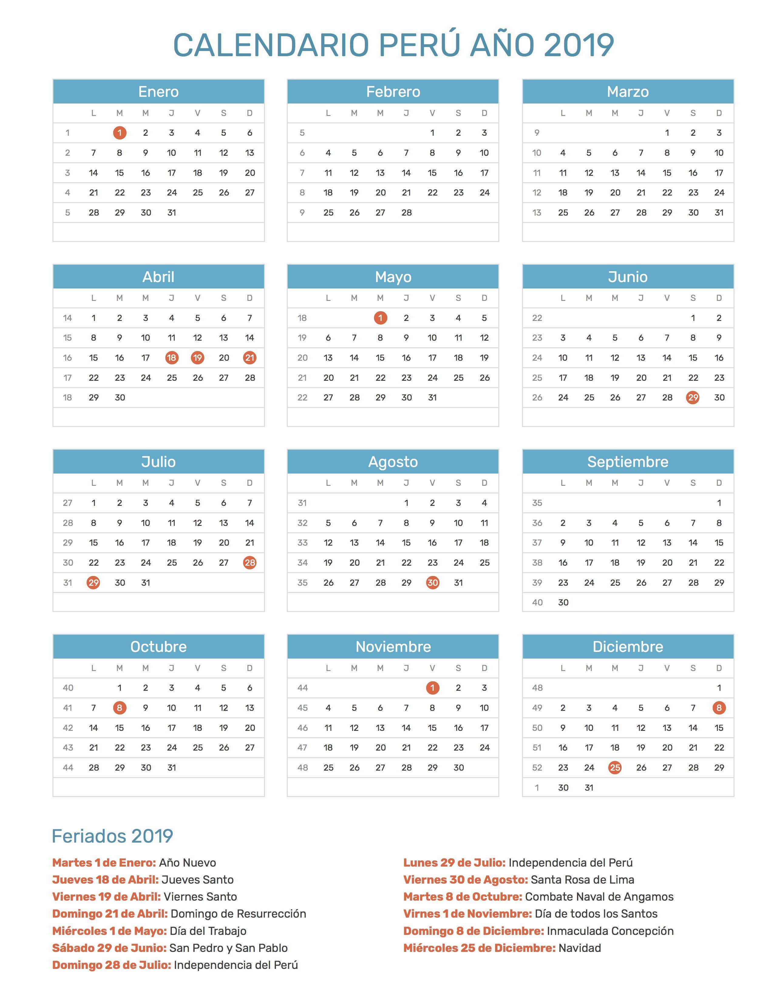 Pin by Calendario Hispano on Calendario con feriados año ...