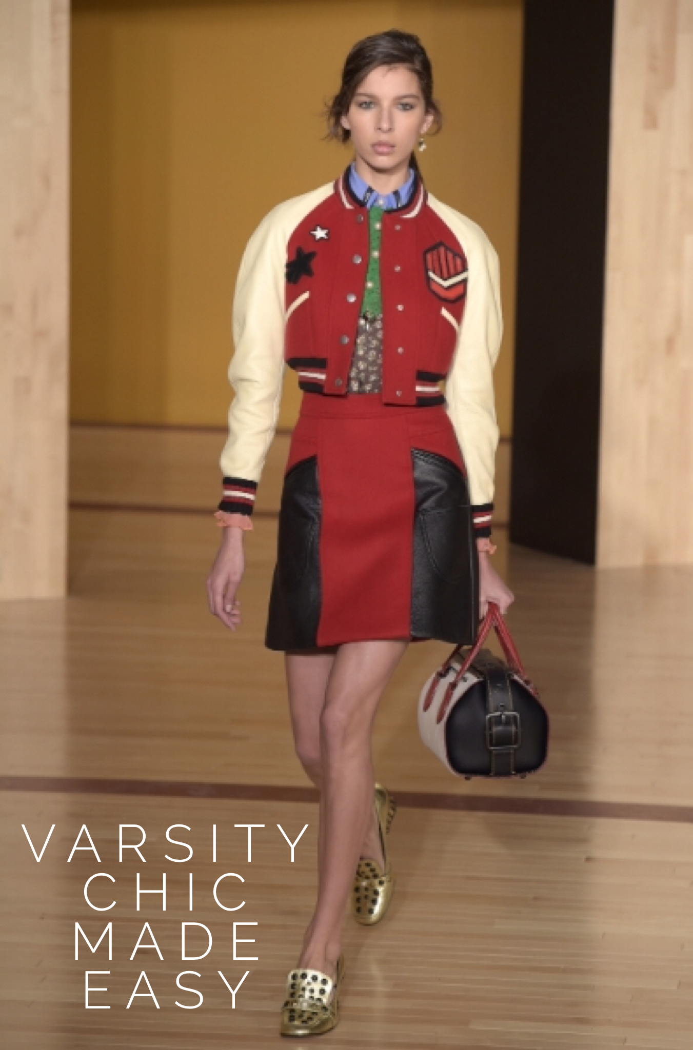 Coach RTW Fall 2016 presented varsity jackets in oversize and cropped versions during #NYFW
