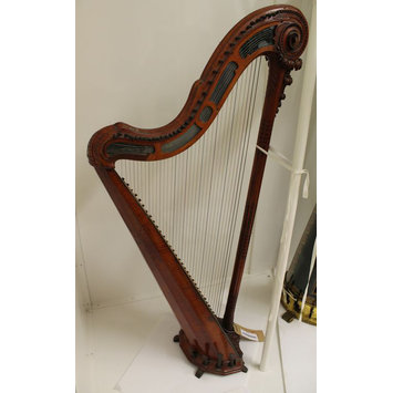 """18 Note 9.5/"""" Wooden Harp Musical Instrument Music Box Plays Music of The Night"""