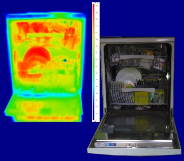 Lave-vaisselle en thermographie infraouge - Thermographic's Library - Dishwasher servicing seen in infrated thermography
